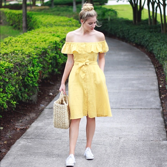35d059dcbd82a Zara yellow linen off shoulder dress. M 5b4fd81a477368d221791f12